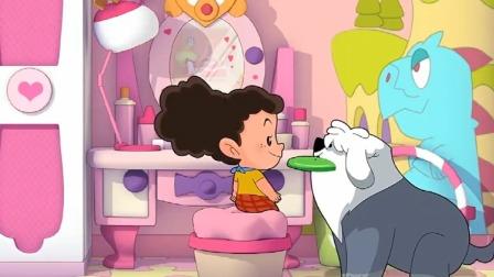 米花想要玩飞盘,可是棉花糖想当白雪公主,不想被晒黑