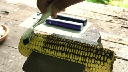 普通牙刷和电动牙刷的区别有多大?老外将咖啡粉撒玉米上面实验!