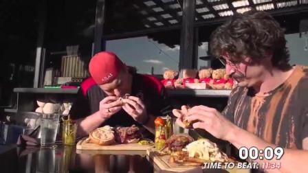 兰迪大胃王的超大汉堡的速食挑战,帽子一转老板破产,兰迪出手一个顶俩