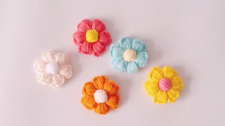 泡芙花钩织方法多针的枣形针装饰花朵编织方法图解视频教程