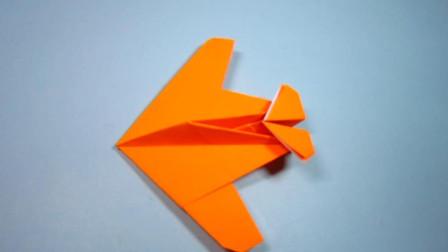 手工折纸,小飞机的折法,迷你战斗机一张纸就能折出来,简单好看