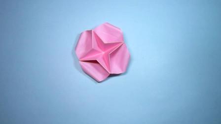 手工折纸,小花朵的折法,几个步骤就完成,漂亮又简单