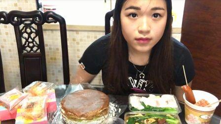 炜琳是个大吃货-奥利奥千层蛋糕--奶黄流沙月饼-腩汁猪肠粉--牛肉拉肠--大胃王-国内吃播--中国美食