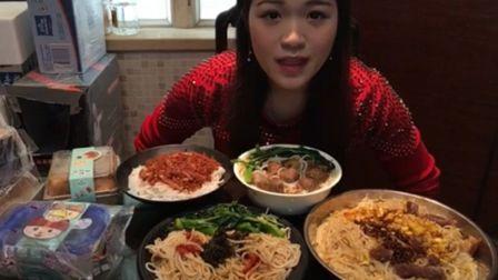 挑战八人份桂林米粉:炸酱、香拌、卤水、炒 四种口味  榴莲千层 奥利奥抹茶奶酪包--中国吃播-大卫王-美食
