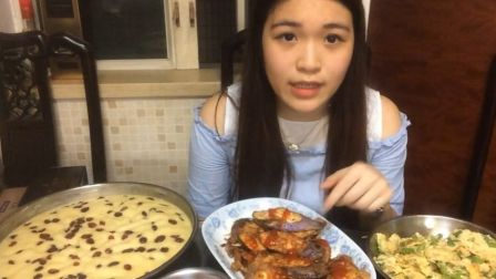 (私厨)蔓越莓马拉糕,炸茄盒,豆角肉末炒蛋--吃播-美食-吃货-大胃王-中国-炜琳