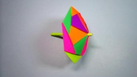 手工折纸,小花伞的折法,几张纸就能组装成漂亮的雨伞
