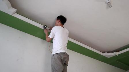 房子装修石膏线都是怎样固定的,这种方法最可靠,泡沫胶防止开裂