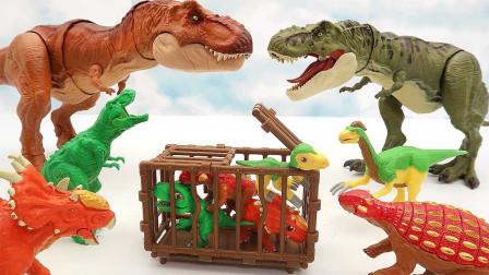 猎人抓捕四只小恐龙 关进牢笼子运输卡车