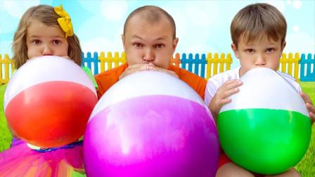 超搞笑!萌宝小萝莉和爸爸怎么吹起大气球呢?究竟发生什么有趣的事?
