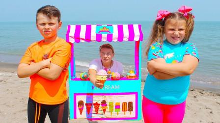 超紧张!萌宝小萝莉和哥哥为何在比赛呢?最后谁吃了冰淇淋?儿童亲子游戏玩具故事