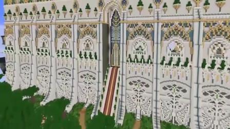 我的世界之怪物学院:用时三百六十天,建造出一座宏伟的神殿门