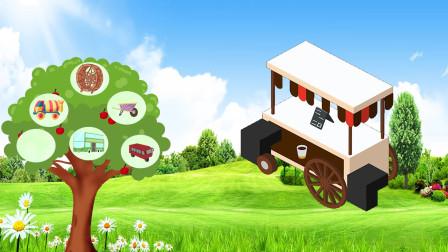 亲子趣味识汽车 认识小吃车 双层巴士车 三轮车的名字吧