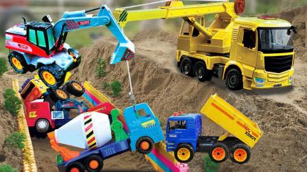 户外工程车挖掘机玩具展示,挖机表演大全游戏