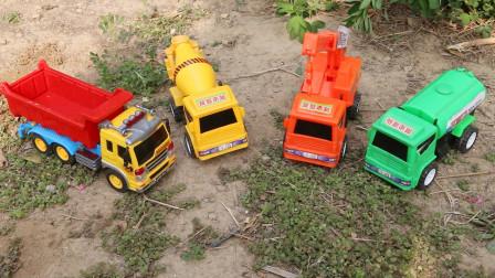 彩色工程车快快乐乐玩捉迷藏的游戏,儿童趣味故事