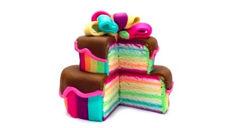 儿童彩泥玩具 一起用培乐多彩泥制作彩虹蛋糕 还是双层的彩虹蛋糕哦