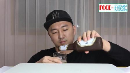 韩国吃货小哥,吃啤酒瓶巧克力,发出咀嚼声,吃得还挺馋人