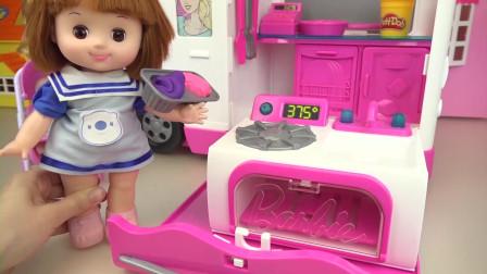 咪露妹妹的粉色小烤箱玩具,做好吃的杯子蛋糕招待小豆子姐姐
