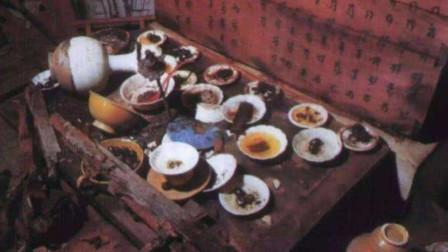 """江苏出土""""吃货墓"""",墓中摆放一桌饭菜,都是生前爱吃美食"""