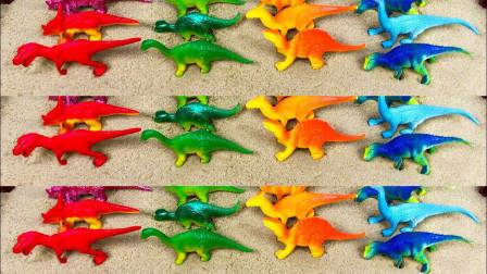 四种颜色恐龙家族红色、黄色、蓝色、绿色农场