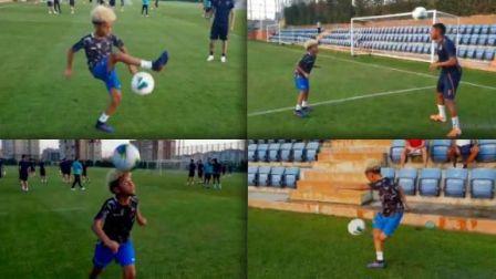 太强了!罗比尼奥儿子花式足球炫技 这就叫足球DNA吧