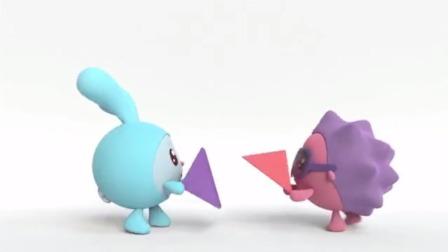跳跳和诺诺拿来了三角形,两个三角形拼在一起,最后变成了方形