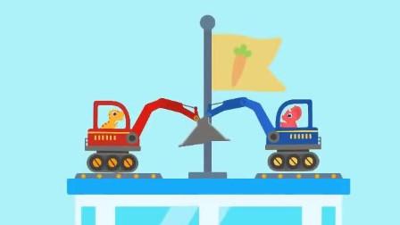 小恐龙驾驶挖掘机闯关游戏