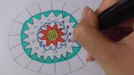 简笔画之彩色盘子,没想到这么漂亮的盘子是画出来的,你也试试吧!