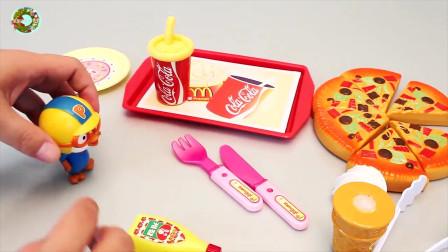 儿童食玩,切淇淋和比萨汉堡包烹饪玩具
