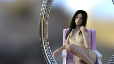 DAZ3D动画,美女照镜子