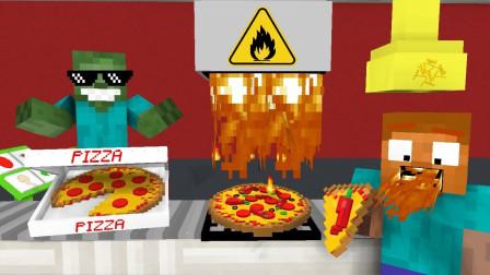 我的世界怪物学院游戏搞笑:披萨大餐制作