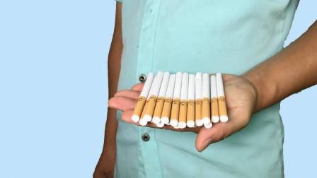 魔术揭秘:空手连续变出40根香烟,秘密在哪里?学会后骗朋友玩
