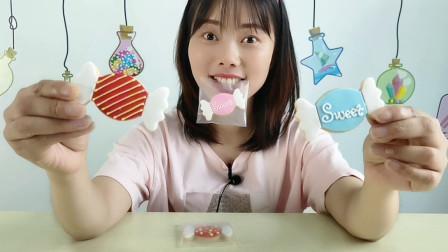 美食拆箱:妹子吃糖果造型饼干,萌趣可爱,香甜脆爽好喜欢