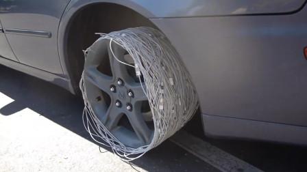 用200根苹果数据线代替轮胎,缠在轮毂上真的能跑吗?