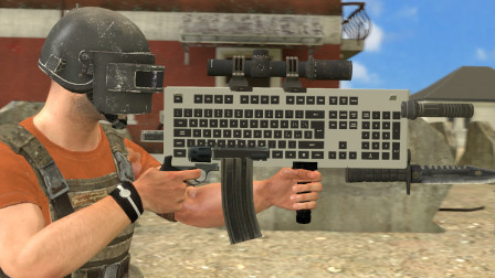吃鸡动画:键盘和M416组成的新武器,专门用来对付喷子