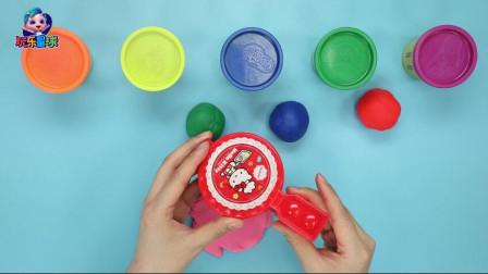玩乐手工课 凯蒂猫华夫饼模具手工diy彩泥甜点 一分为五学颜色