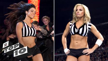 崔西 AJ李 大公主 女神们换上黑白条纹衫 现身WWE擂台客串裁判