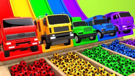 超神奇!搅拌机,工程车,消防车竟然变成了5种彩虹的颜色了!儿童玩具游戏故事