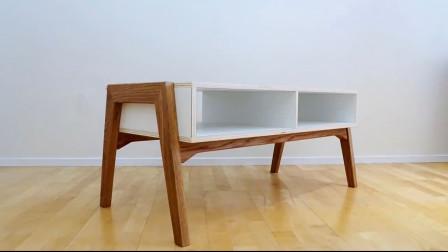 小哥教你如何设计制作一张茶几书桌,利用实木和多层板设计制作,看完全会了
