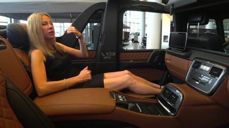 美女订购一辆奔驰迈巴赫G650,坐进后排的那一刻,才知道什么是奢华