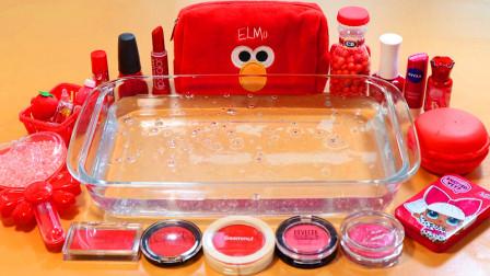红色爱心珍珠泥、腮红、眼影、马卡龙、指甲油,DIY无硼砂史莱姆
