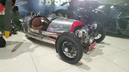车展实拍:三轮车摩根3Wheeler,发动机外漏,野性彪悍的代名词