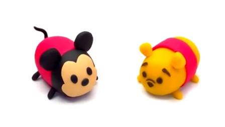 儿童彩泥玩具 用培乐多彩泥DIY制作米奇和小熊维尼玩具