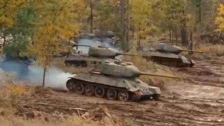 二战军事电影中让人畏惧的一幕:一辆虎式坦克对阵一群t34坦克