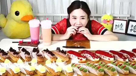 中国大胃王美女吃一桌子的泡芙,好甜好甜看着就膩