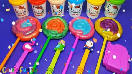 用棒棒糖太空沙彩泥制作各种冰淇淋 色彩认知