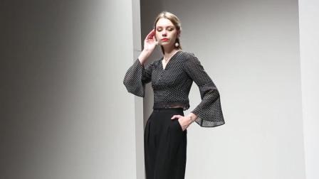 2019秋装新款欧美时尚高腰显瘦喇叭袖波点上衣显瘦阔腿长裤套装