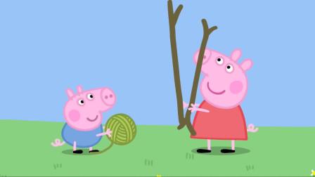 小猪佩奇和小猪乔治准备好树枝和毛线 简笔画
