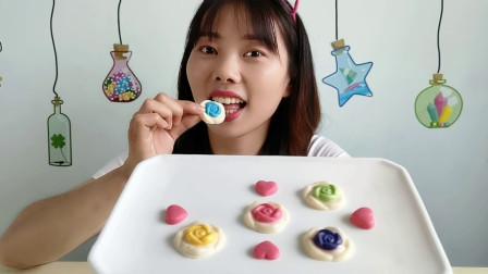 """妹子拆箱吃""""玫瑰花巧克力"""",手工制作精致美丽,五彩缤纷好吃"""