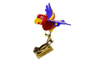 转动齿轮鹦鹉就能挥翅膀!没机械天赋的真难看懂原理