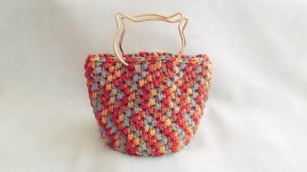 手提包毛线钩针编织包泫雅包猫头包毛线编织简单方法